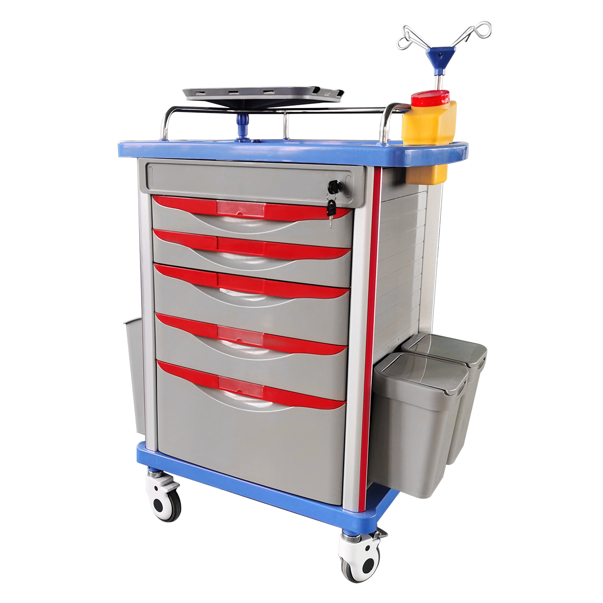 Hospital trolley ABS medicine anesthesia emergency trolley with 5 drawers