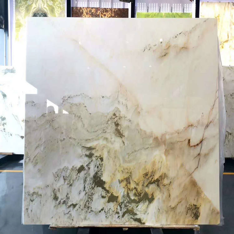 hot selling bookmatched landscape painting green onyx marble slab for background design