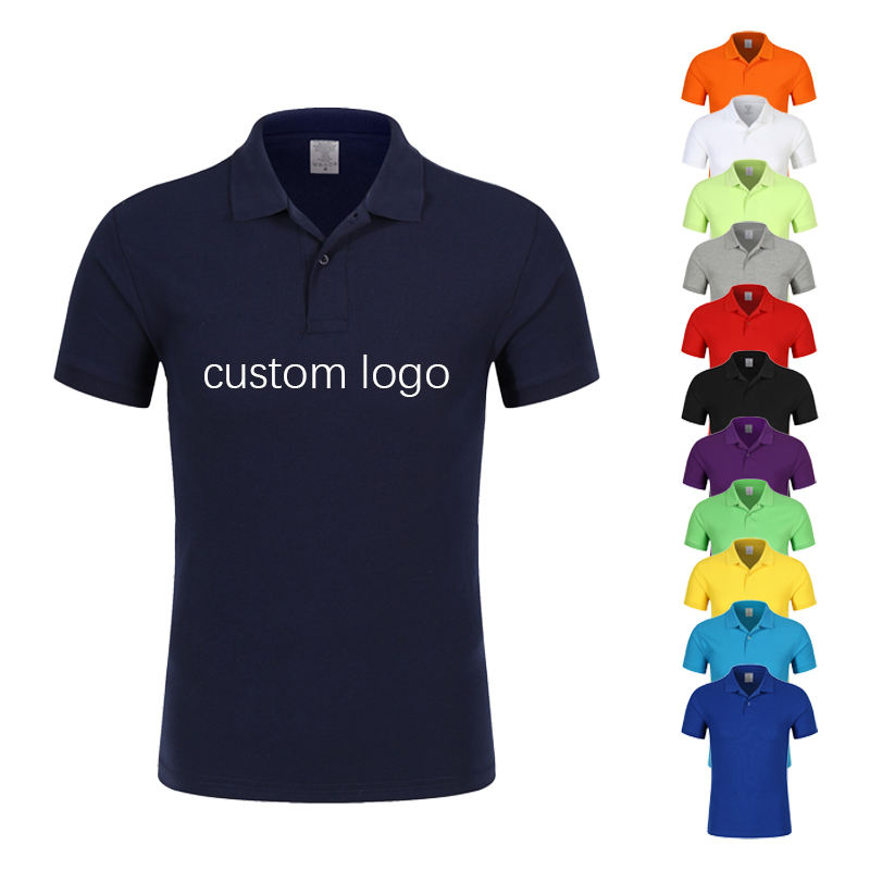 Custom logo print plain white 100% cotton unisex men women polo collar neck t shirt for school uniform with wholesale price