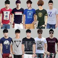 Mix style mix color fashionable men's short-sleeved T-shirt cloths stock with round neck