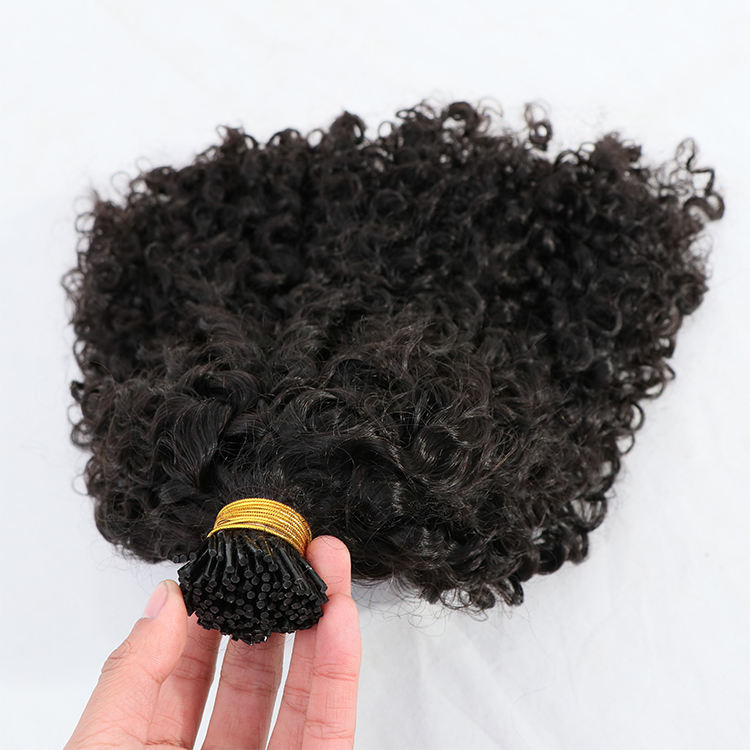 Customized Micro link Hair Wholesale I Tip Hair Extensions Colored itips India kinky curly Double Drawn Human Remy Hair