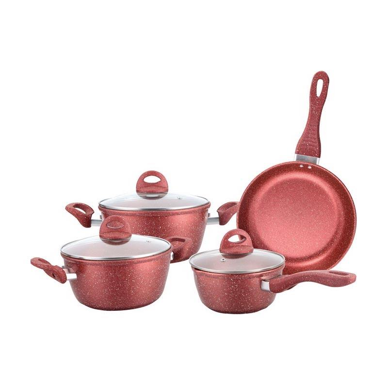 7 pcs carbon steel non stick marble coating cooking pot cookware set