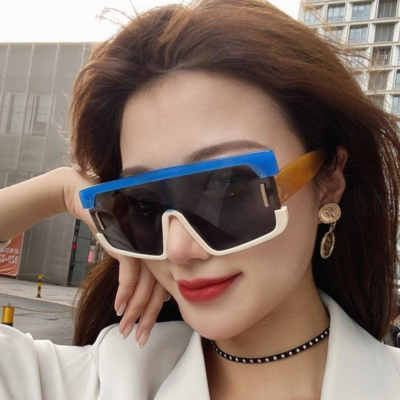 Hand made China factory gradient one piece lens square sunglasses nickel free uv400 beach two colour sun glasses