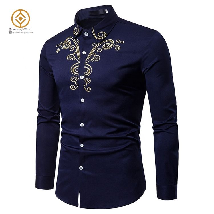 Wholesale Embroidery Plus Size Long Sleeve Slim Fit Casual Men's Shirts