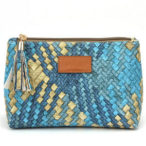 Hot sales Women Western Style Color Woven Cosmetic Bags Travel Makeup case