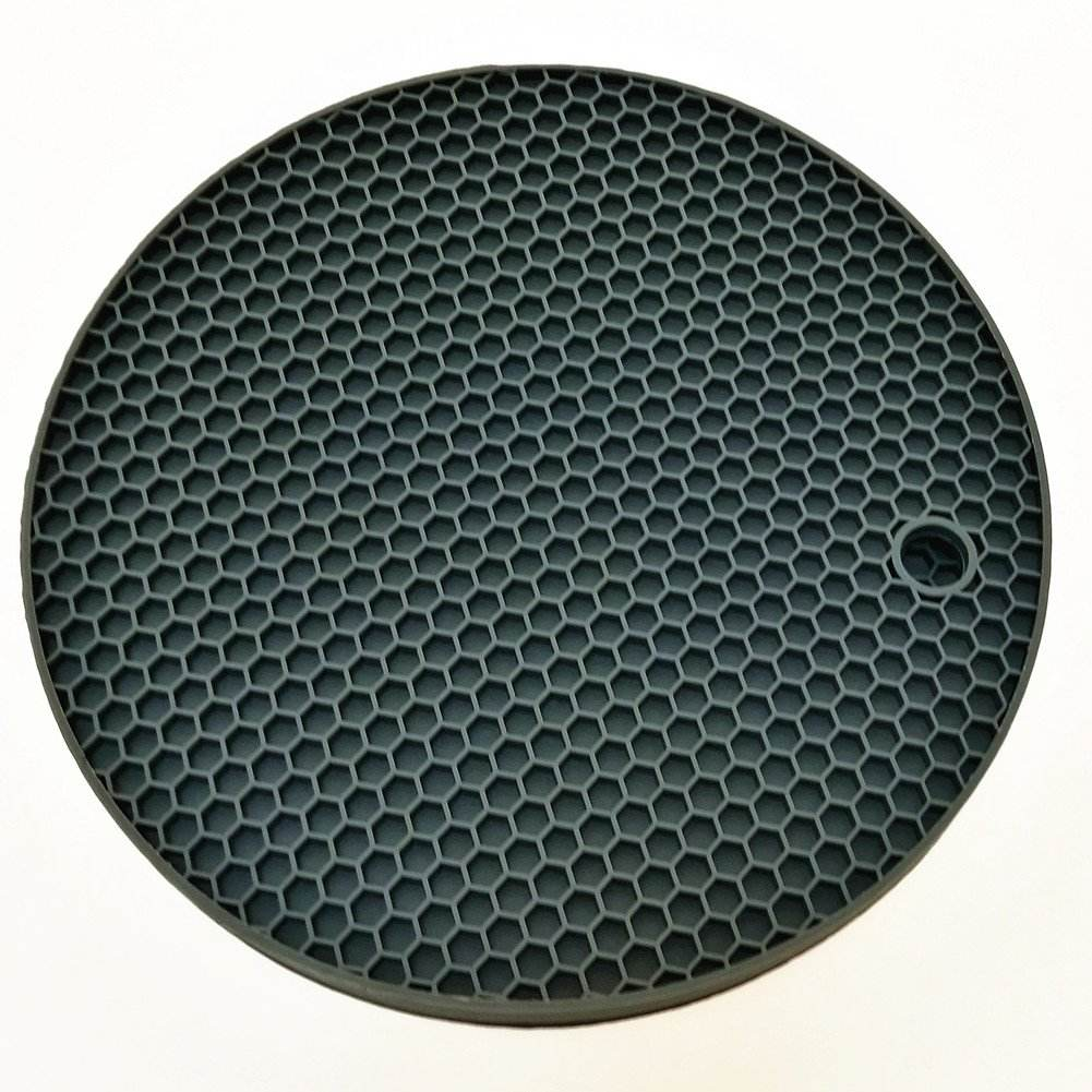 Silicone Trivets Placemats Round Pot Holder Non Slip Flexible Durable Dishwasher Safe Heat Resistant Hot Pads Color Grey