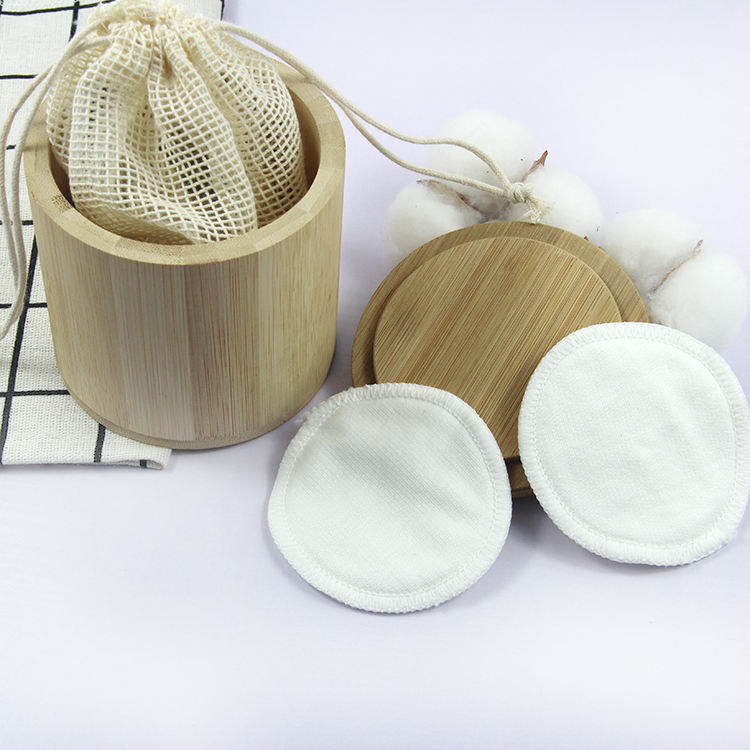 3 layer bamboo Washable cotton round makeup remover cotton cleansing pads in Bamboo tube
