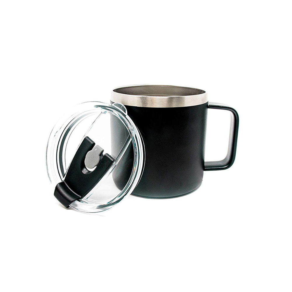 10 Oz Coffee Mug Stainless Steel Camping Mug Double Wall Insulated Metal Cup for coffee with lid and handle
