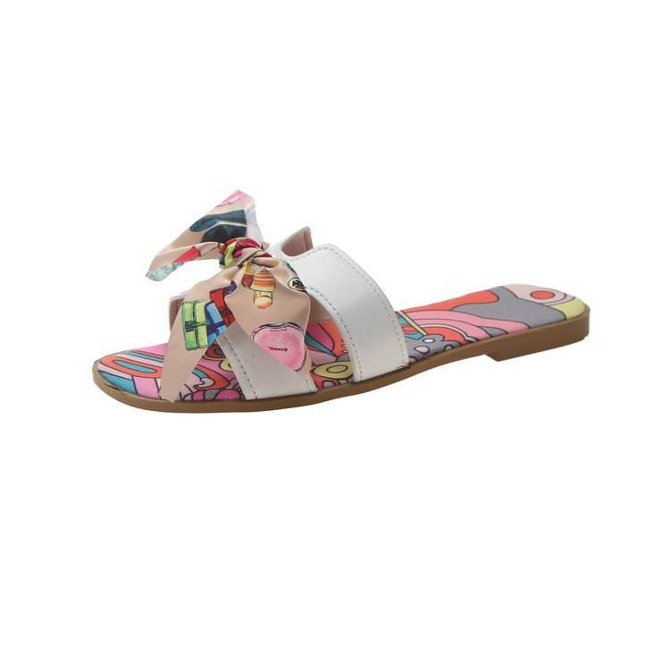 Factory export 2020 sandals women Colorful bow sandals flat casual