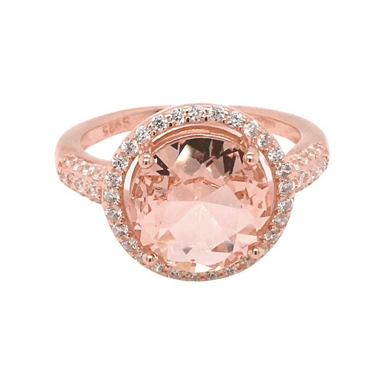 Plating Rose Gold Ring with CZ Diamonds and Morganite Glass Stone