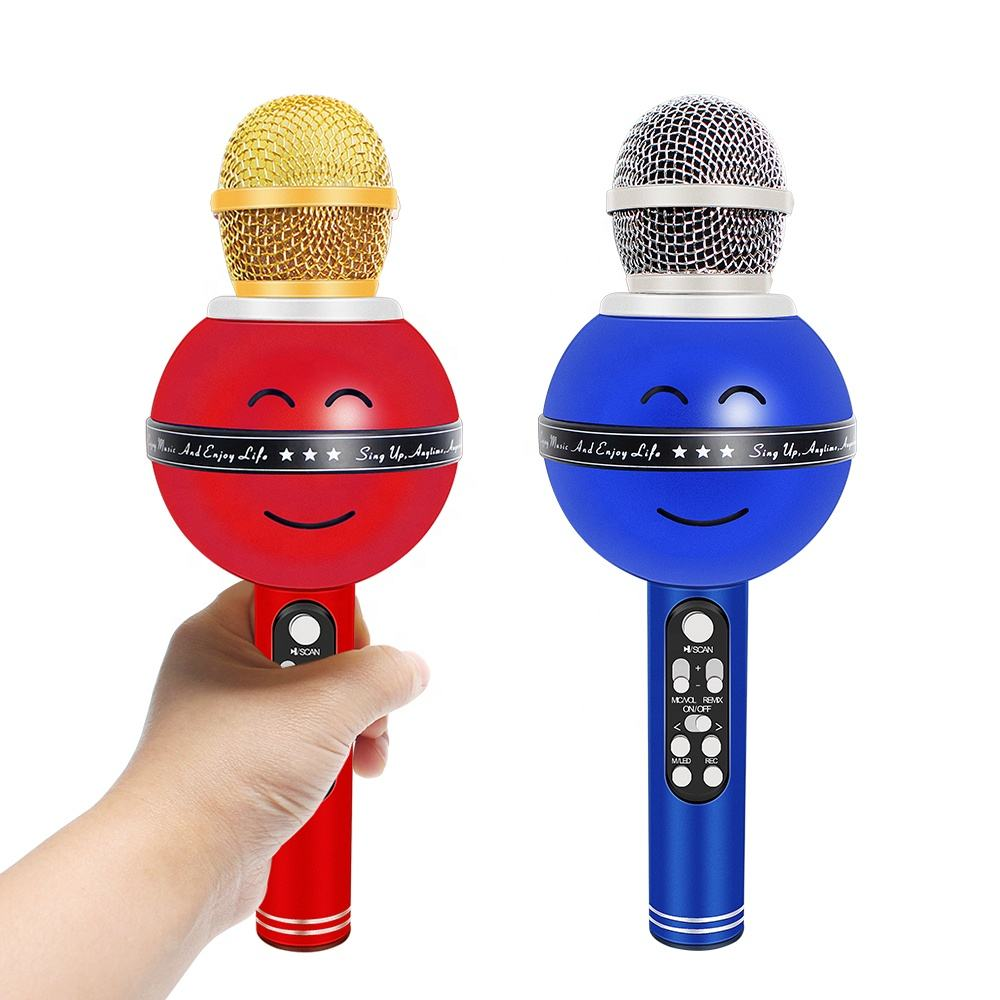 Smile Face Wireless Bluetooth Karaoke Microphone Multifunction Mic Singing Party Handheld Microphone for Smartphone PC K Song