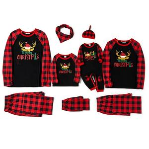 Family winter long sleeve red sets merry christmas pyjamas