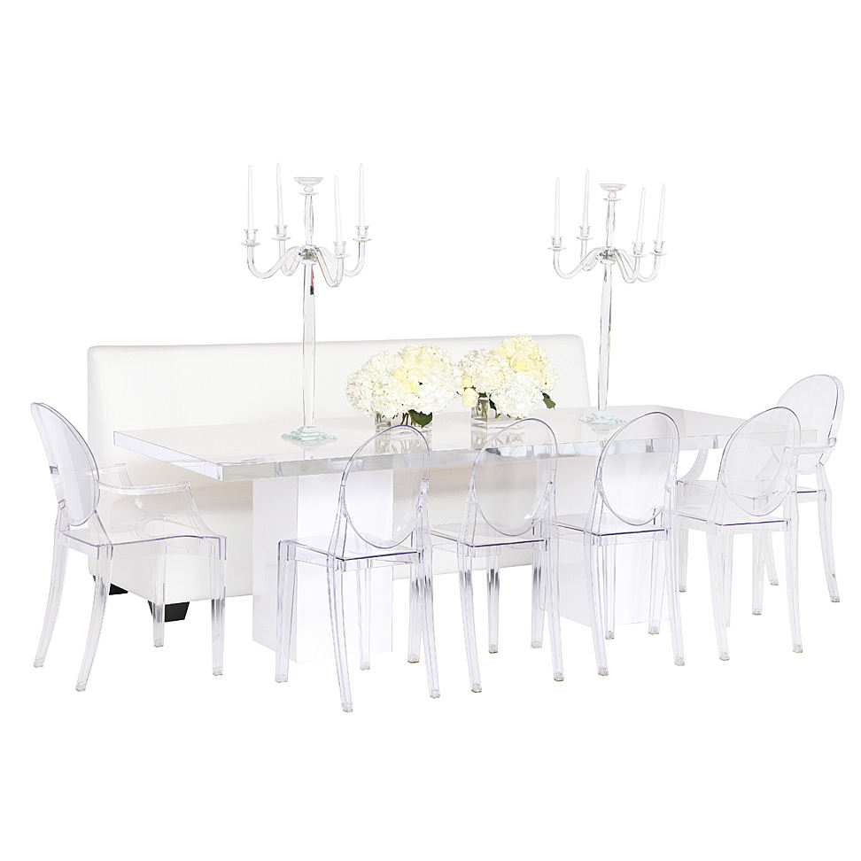 VONVIK Acrylic Modern Dining Table Set 6 Chairs