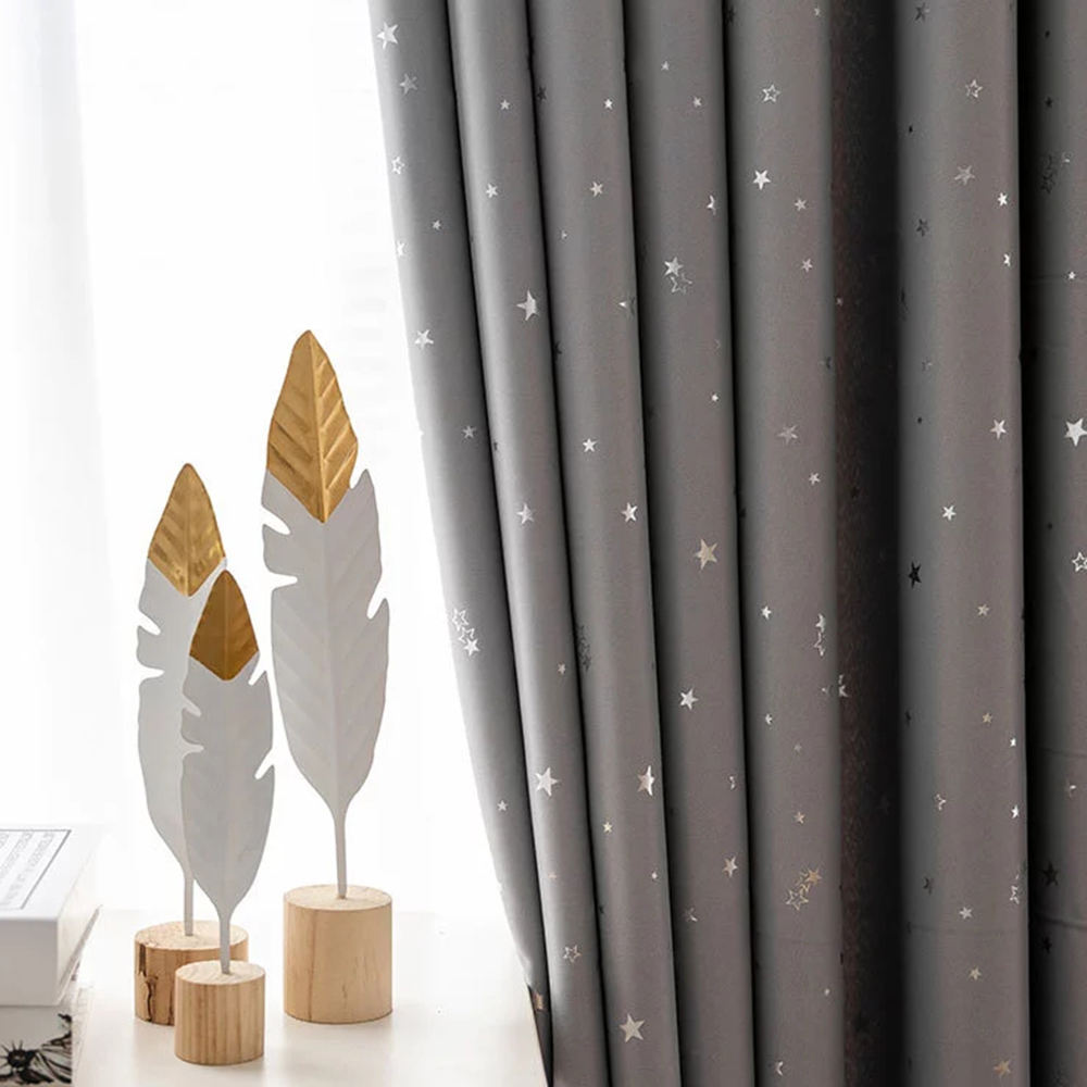 Star Blackout Curtains for Kid's Bedroom - Grommet Thermal Insulated Room Darkening Printed Curtains for Living Room