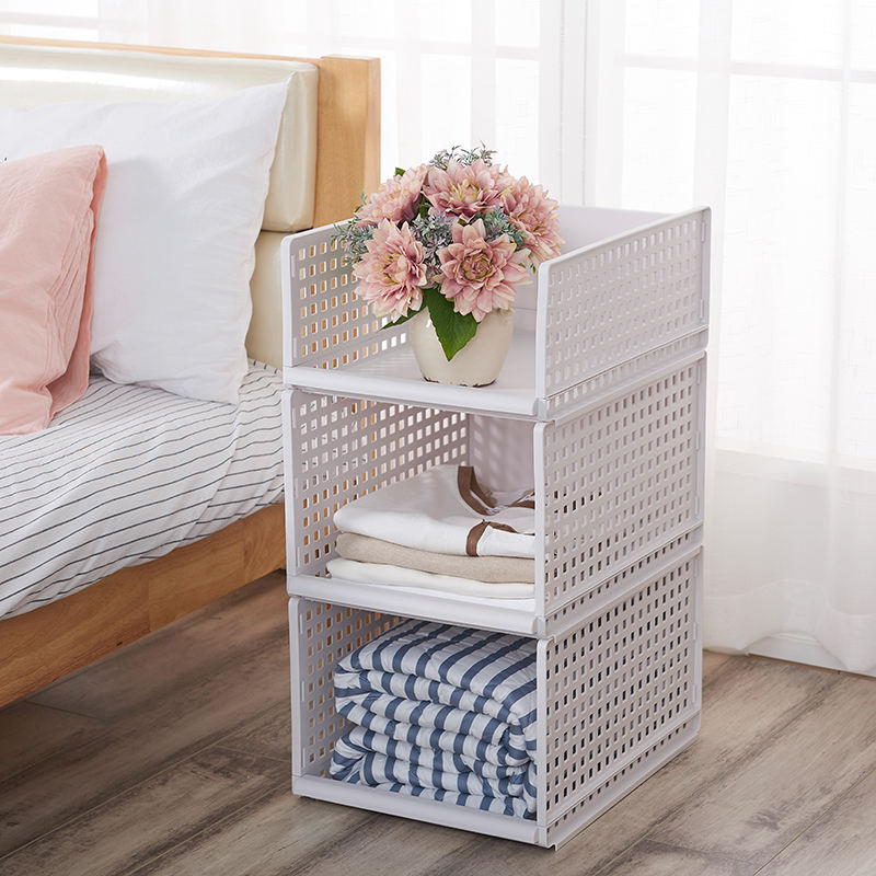 High Quality Foldable Plastic Basket Flexible Plastic Drawer Folding Basket