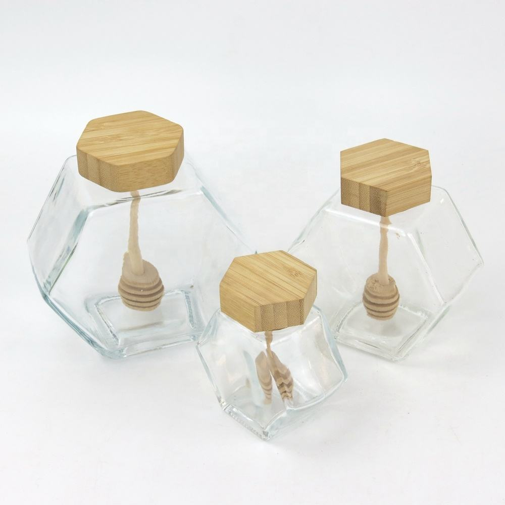 Wholesale Customized 100ml 220ml 380ml Empty Clear Hexagon Glass Honey Jars with Wooden Lid and Dipper