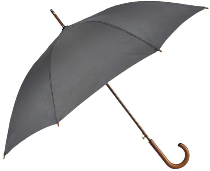 "Stick Umbrella Automatic Open Curved Wooden Hook Handle Rain Black Umbrellas with Classic J Handle 48"" Arc Classic Windproof"