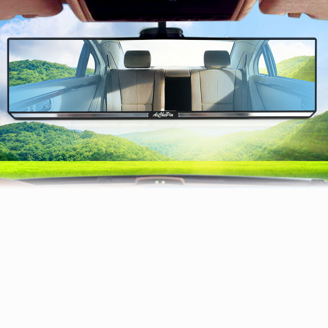 car interior mirror rear view large wide screen angle clip on panarama towing