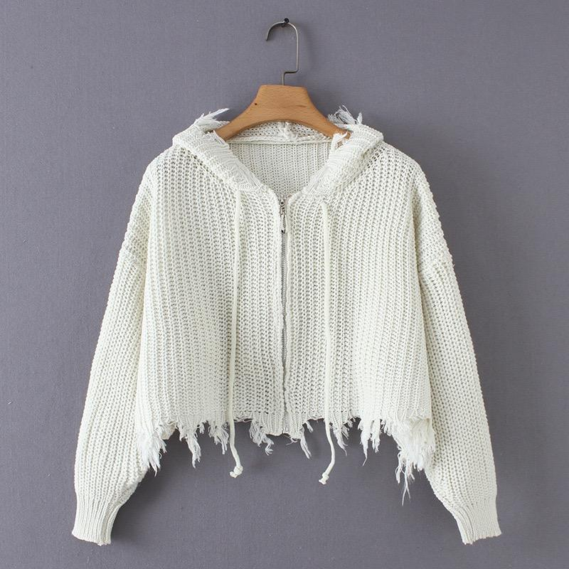 Ready To ship fashion fancy acrylic knitted cardigans zipper tassels sweater for women