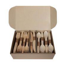Carton custom picnic outdoors Disposable wooden knife fork and spoon