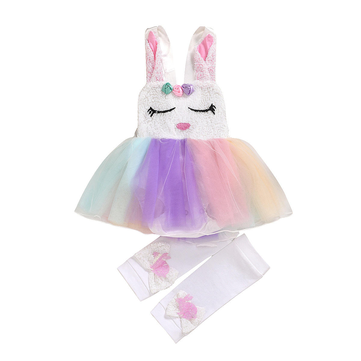 Easter Childrens Bunny Sequin Clothing Unicorn Style Young Tulle Layered Flower 1 Year Girl Baby Dresses