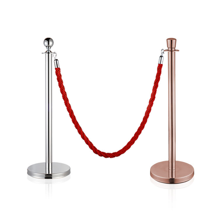 metal stainless steel queue barrier Post And Rope Red Carpet Stanchions