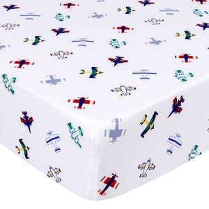 Plane theme fitted crib sheet organic cotton breathable baby crib sheets
