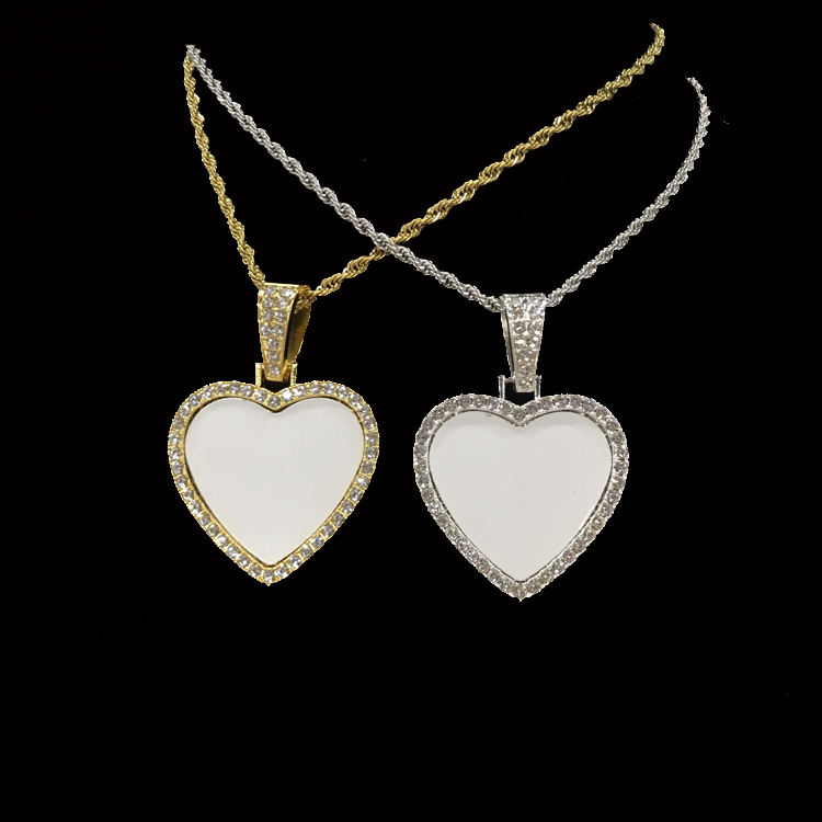 Latest Model Fashion Sublimation HipHop Heart Shape Necklace Custom Made Photo Jewelry