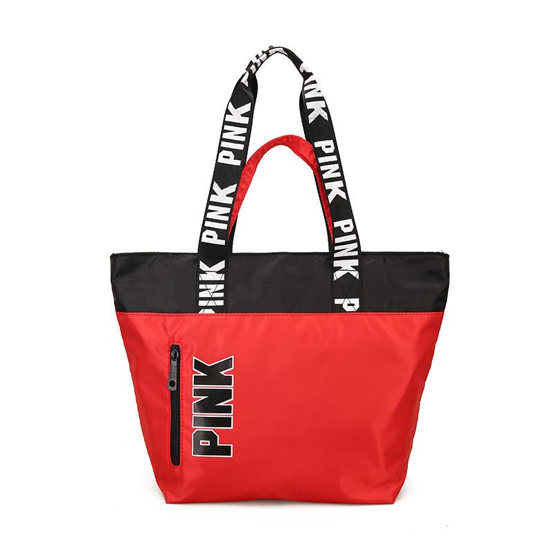 OEM cheap hand bag ladies luxury beach pink waterproof women large nylon handbag sublimation tote bag