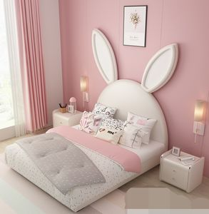 Children's bed light luxury girl Princess bed sheet human children's room leather art bed