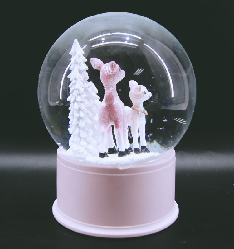 King Need Wholesale Plastic Pink Deer Glitter Water Glass Ball for Christmas Decoration