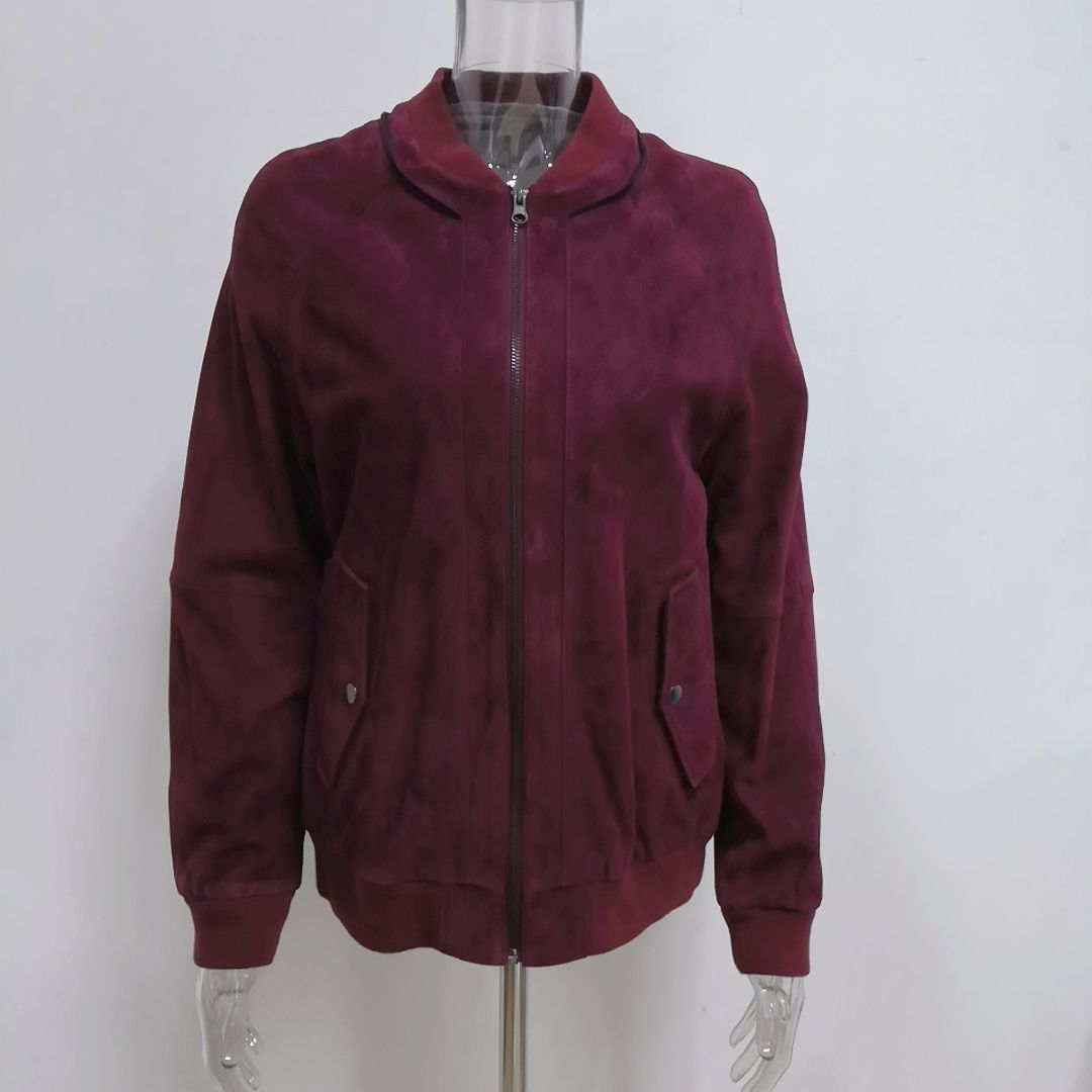 Women's wine red goat suede leather bomber jacket