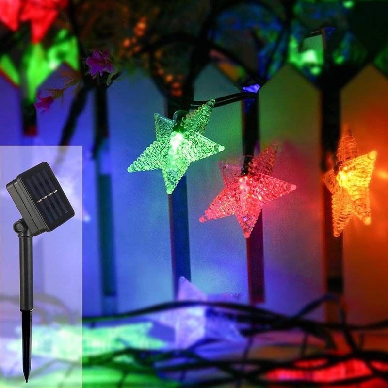 Wholesale Holiday Lighting Solar Energy star string lights for Courtyard christmas tree Decoration star