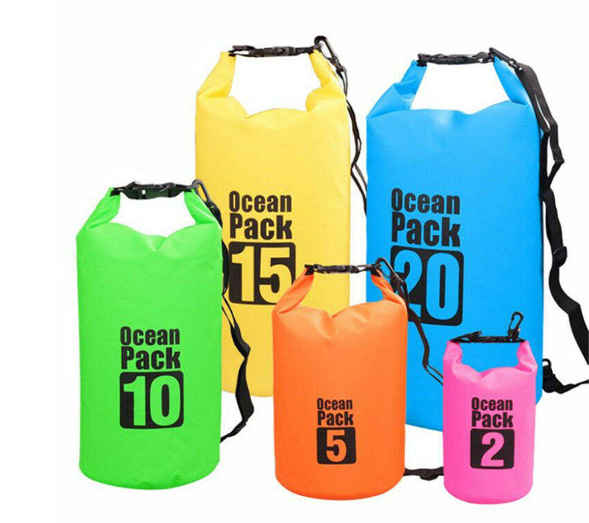 2L 5L 10L 15L 20L 30L PVC Waterproof Dry Bag Sack Ocean Pack Floating Boating Kayaking Camping