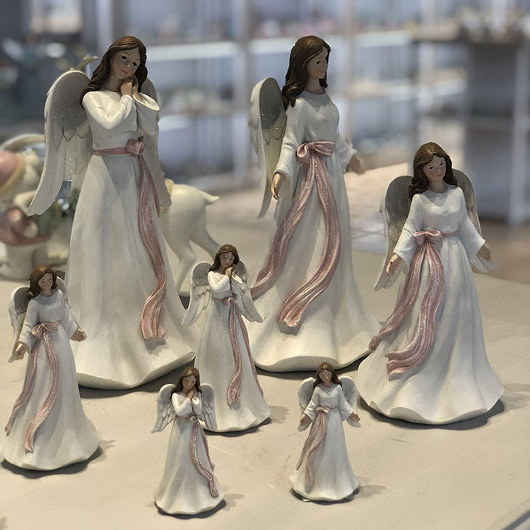 Top Quality Beautiful Wings Resin Angel Religion For Girls