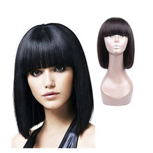 Free Sample Brazilian Virgin Remy Human Hair Silky Straight Natural Black Short Bob Wigs with Bangs for Black Women