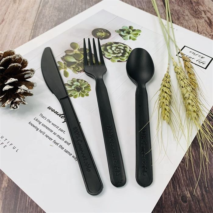 Hot Deal [ Cutlery Travel Set ] Airline Cutlery Set Environmentally Friendly Disposable Biodegradable Cutlery Personalized Brand Names Airline Travel Cornstarch Cutlery Set 7 INCH