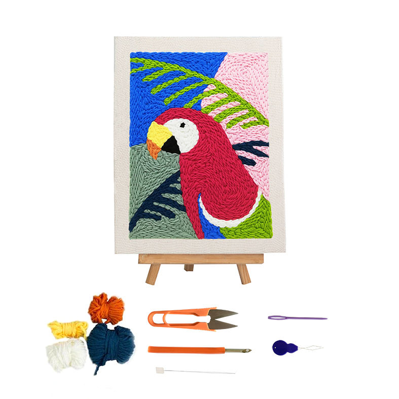Wholesale Rug Hook Sets Lovely Parrot Animal Framed Cross Stitch Kits Embroidery