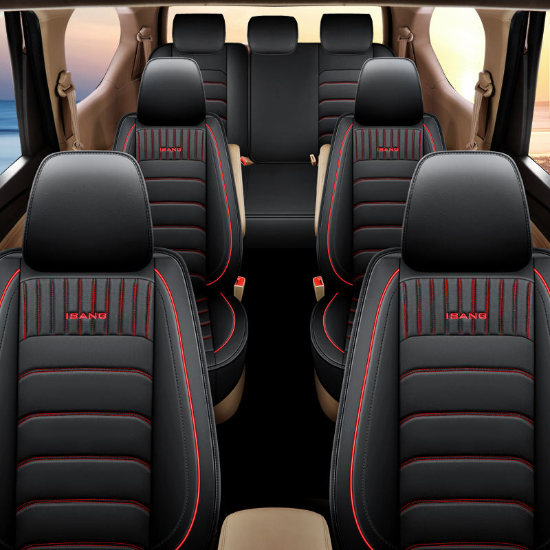 Deluxe design Universal size Full Coverage Leather PU Car Seat Cover 7 seats