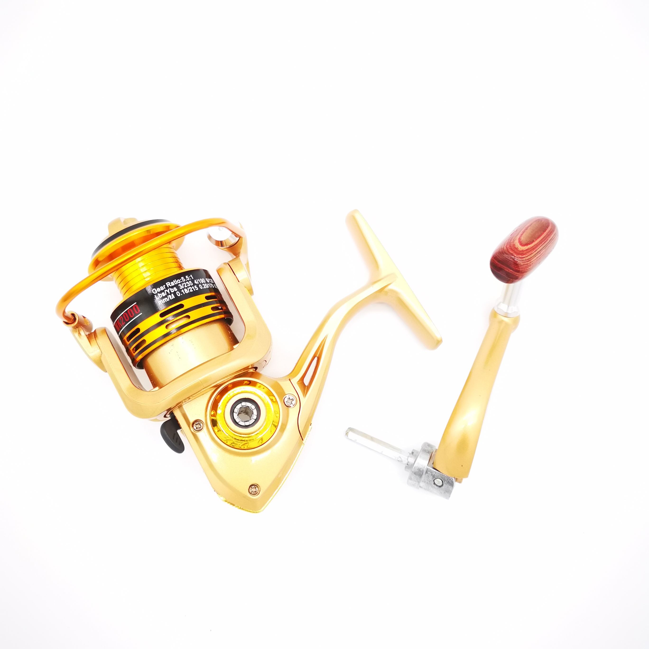 High performance customized steel fishing reel with woodern handle for fishing rod set