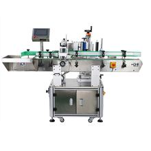 High efficiency automatic round glass wine bottle labeling machine three sides