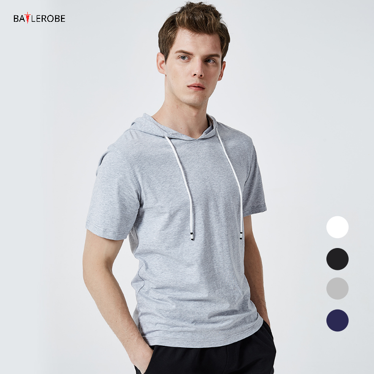 BATTLEROBE Wholesale Short Sleeve Casual Shirts Shirt Men'S Stylish Slim Tee Sport Hooded Hoodie T Shirt in stock