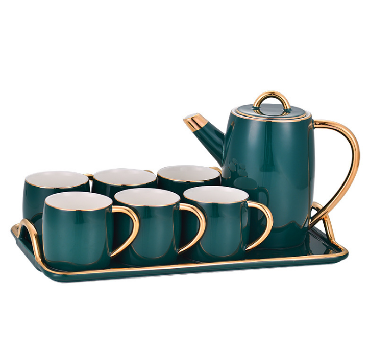 High Quality Emerald Green Ceramic Coffee Tea Set Wtih Tray Nordic Design Royal Porcelain Tea Cup Set With Gold Rim For 6 Person