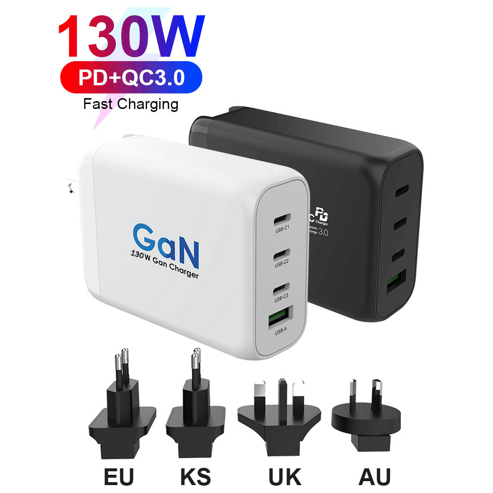 GaN Technology 130W Mini Wall USB Charger Mobile Phone Usb-c PD Charger for Cellphone for MacBook for iPad