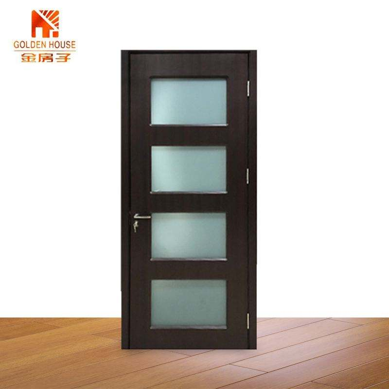 100% exterior Mahogany Tiffany frosted triple pane glass Wood Door Entry Double main wooden door