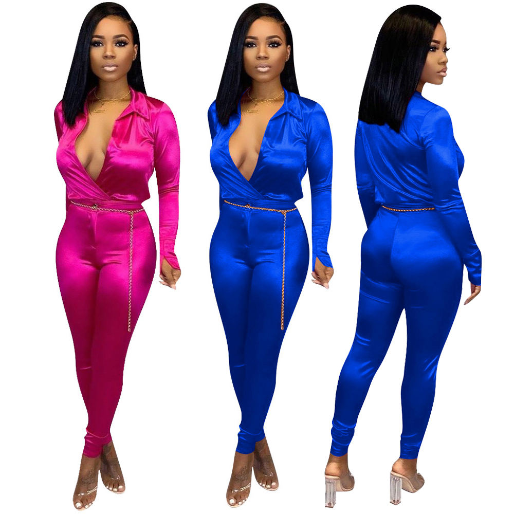 Two PC Sets Stain Shirts and Pants Set Bodycon Pink Blue Sexy Formal 2 Piece Matching Pants Sets for Women Ladies RS00178