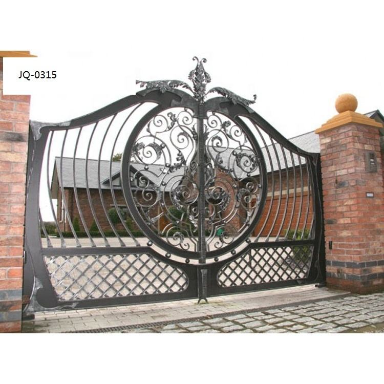 European Galvanized electric automatic driveway big entrance antique italian style wrought iron gates
