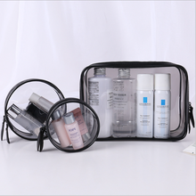Travel Transparent PVC Toilet Cosmetic Bag Clear Makeup Standup Pouch with Printing Logo