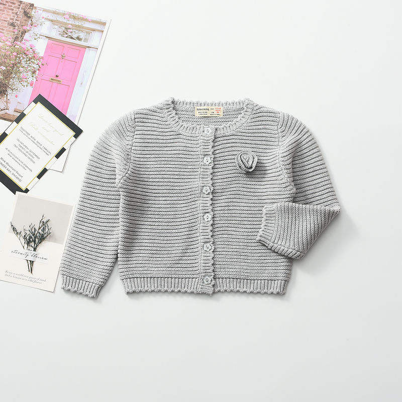 toddler girls cotton sweater baby cardigan plain solid pink fall kids clothes wholesale children's clothing boutiques