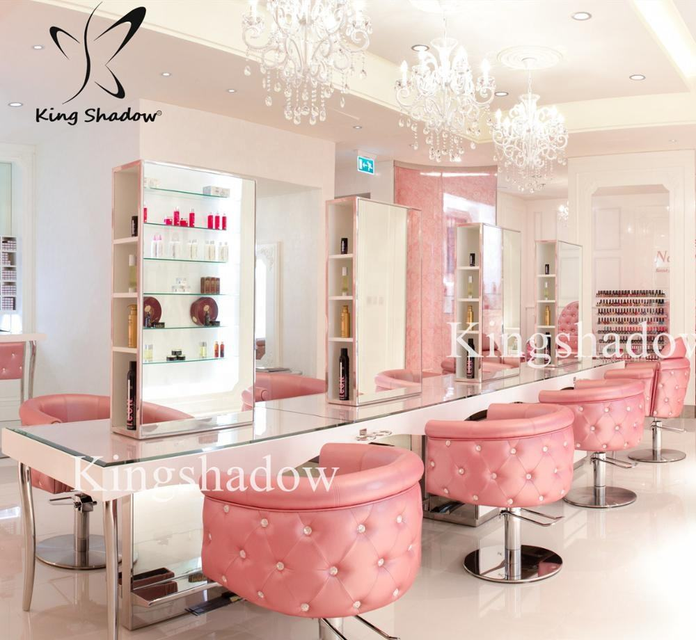 Hair salon equipment and furniture package makeup styling mirrors stations set pink saloon chairs